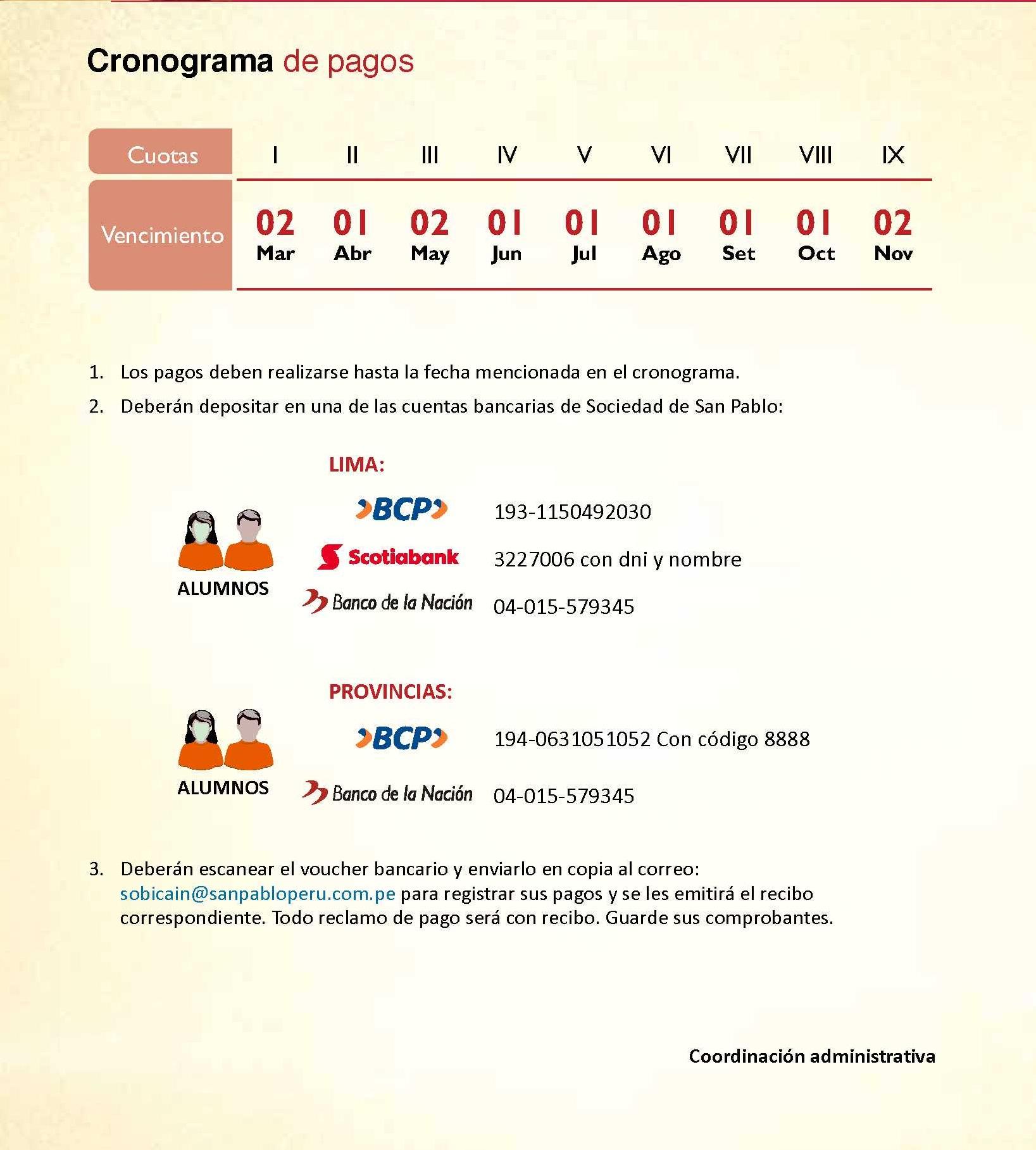 cronograma de pagos evangelios